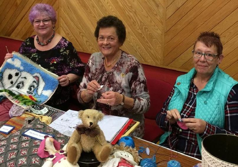 Craft ladies Mary Crothers, Maura Ellis and Gwen Henson pictured with some of the craftwork on display at the WI Afternoon Tea in Kells.