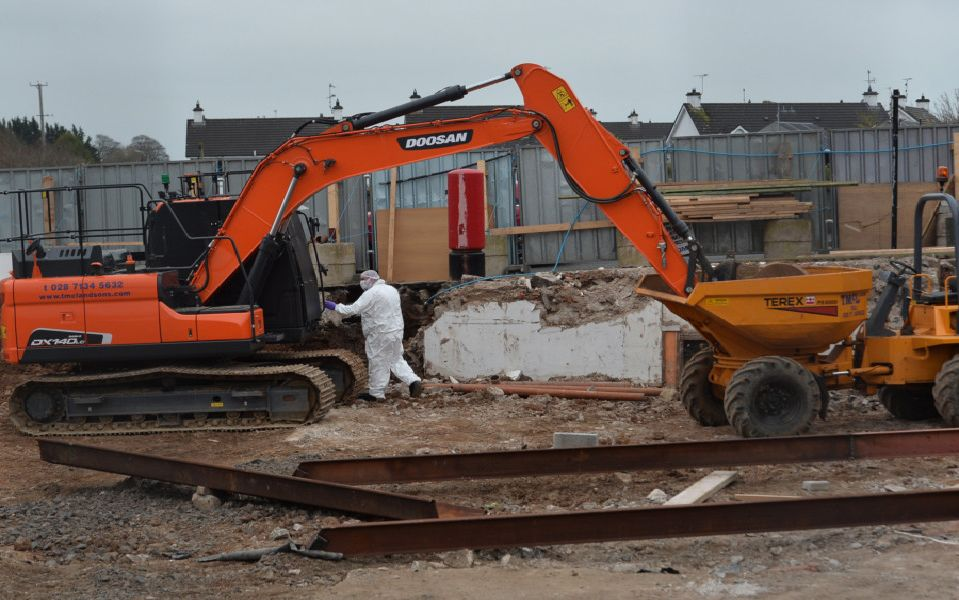 """Detectives are appealing for information following the theft of an ATM machine in Ahoghill during the early hours of this morning (Monday 1st April). ''Detective Inspector Richard Thornton said: """"We received a report around 3:25am that a digger was on fire outside a shop on Brook Street in the village, and that an ATM had been ripped from the side of the building causing considerable damage.  'Photo Colm Lenaghan/Pacemaker Press"""
