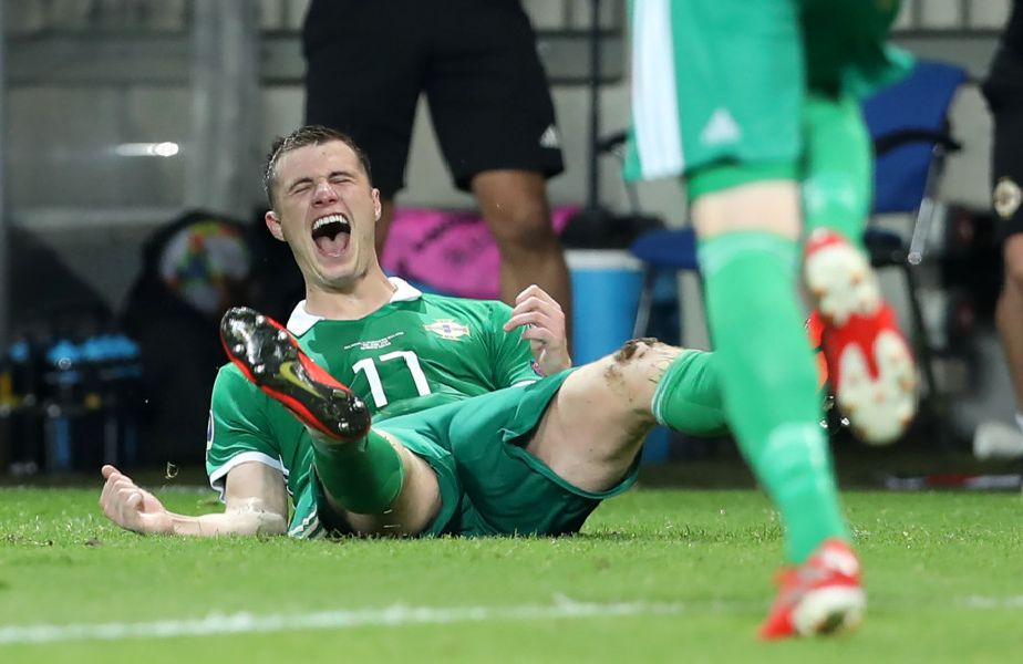 Press Eye - Belfast -  Northern Ireland - 11th June 2019 - Photo by William Cherry/Presseye''Northern Ireland's Paddy McNair celebrates scoring against Belarus during Tuesday nights UEFA EURO 2020 Qualifier at the Borisov Arena, Belarus.      Photo by William Cherry/Presseye