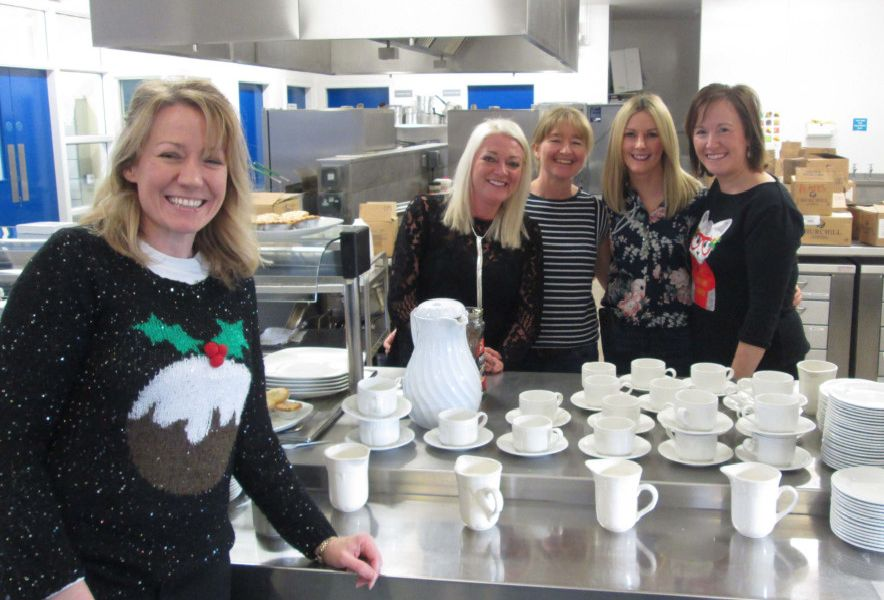 """Kitchen staff at the Parent and Teacher Association of St Patrick�""""s and St Brigid�""""s Primary School, Ballycastle annual Christmas fund raising fair at the school on Sunday afternoon."""