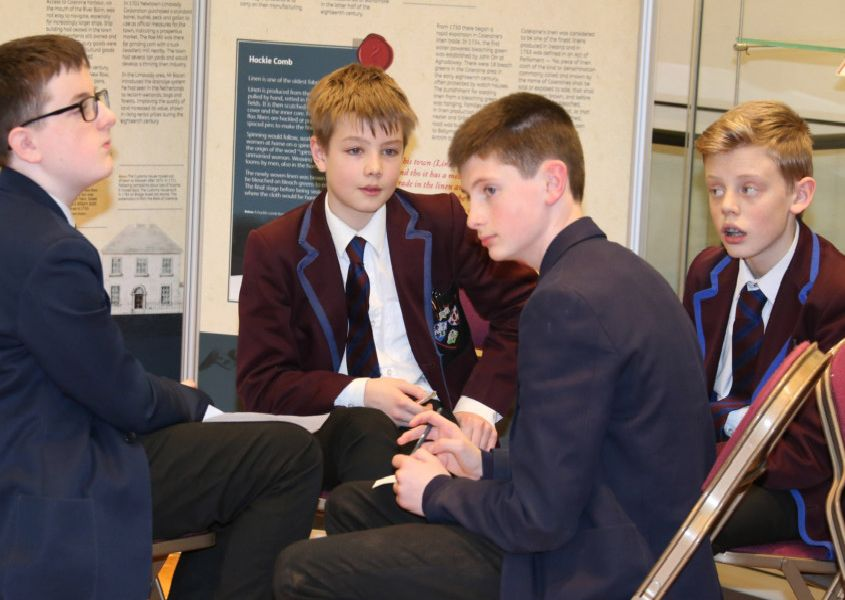 Year 9 pupils pictured at the 'Smart World Shared Education' workshop in Ballymoney Town Hall, organised by Building Communities Resource Centre and Causeway Coast and Glens Borough Council.