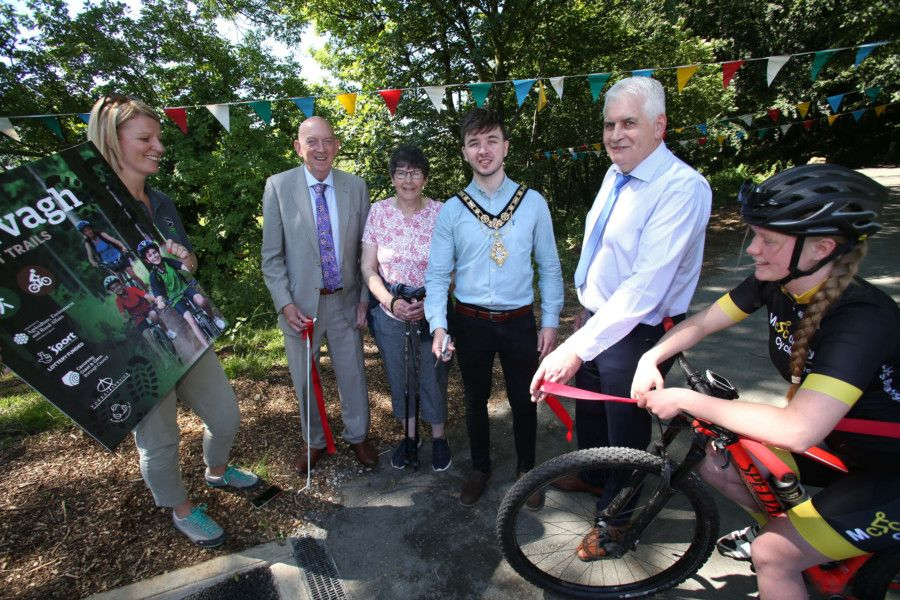 The Mayor of Causeway Coast and Glens Borough Council Councillor Sean Bateson pictured with Helen Lorimer, Ulster Wildlife Trust, George Lucas, Chair of Sport NI, Sandra Moody, Garvagh Forest Strollers, John Joe O'Boyle, Chief Executive of the Forest Service and Erin Creighton, Irish Champion Mountain Biker at the recent launch of the Garvagh Forest Trails Project.