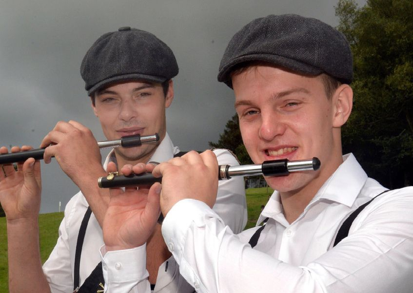 Peaky Flautists...Monaghan Auld Fife And Drum Band members, Stewart Waller, left, and Mark Patterson pictured at the Black Saturday field in Dungannon. INNL36-219.