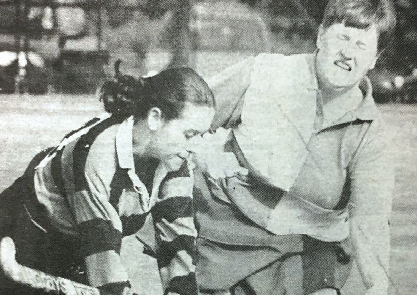 Dromore Ladies on the attack during their league win over Shorts in 1995.