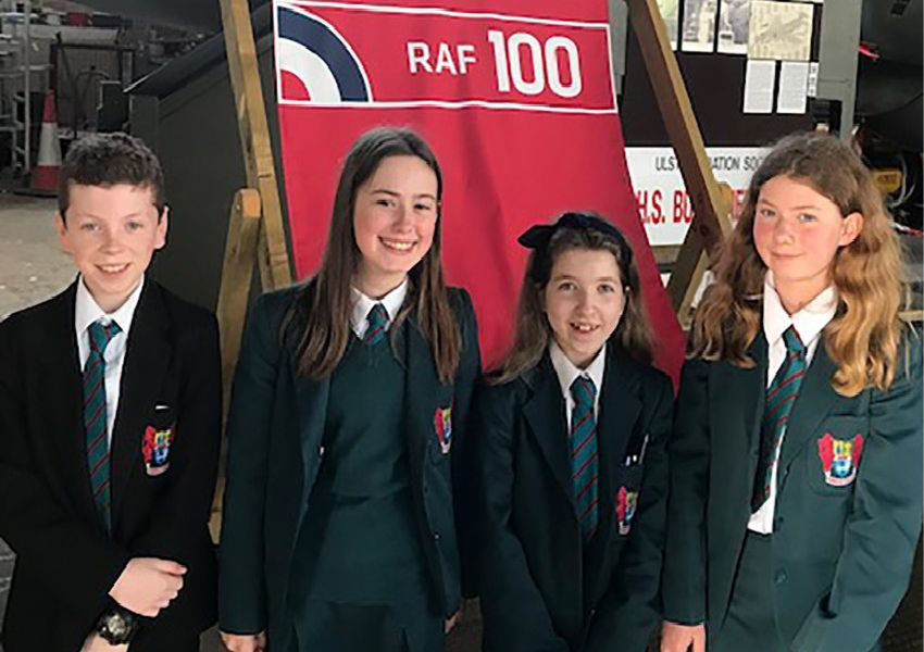 Banbridge Academy Year 8 pupils pictured at the home of Northern Ireland's Air Power