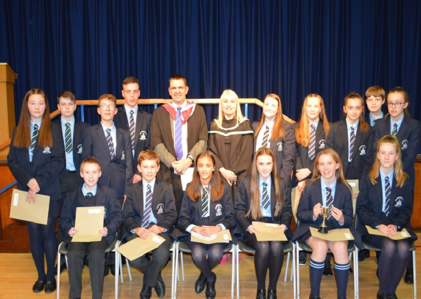 Year 8, 9 and 10 class prizewinners at the Dromore High School Prize Night