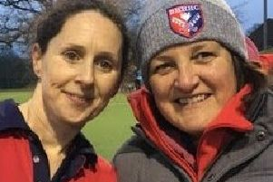 BHHHC ladies' first-team captain Faye Potton with coach Dina Gray.