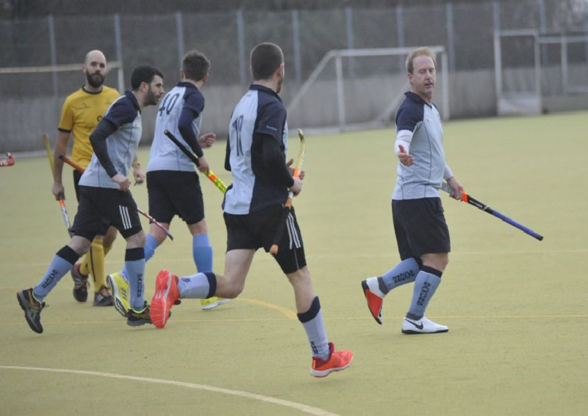 South Saxons celebrate one of their goals in the 4-3 win at home to Marden Russets. Pictures by Simon Newstead