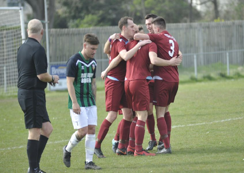 Little Common celebrate their third goal in the 4-1 win at home to Pagham.