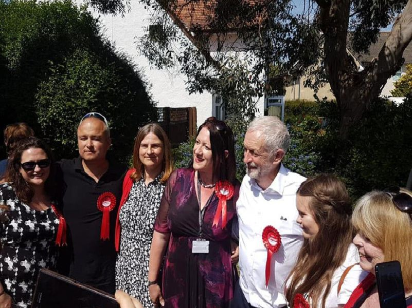 Jeremy Corbyn with councillors Debs Stainforth, Carl Walker, Sylvia Knight, Dawn Smith, Rosie Lelliot and Margaret Howard. Picture: EW&S Labour