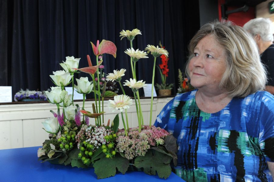 Valerie Bell with her 1980's style arrangement.     ks190506-6