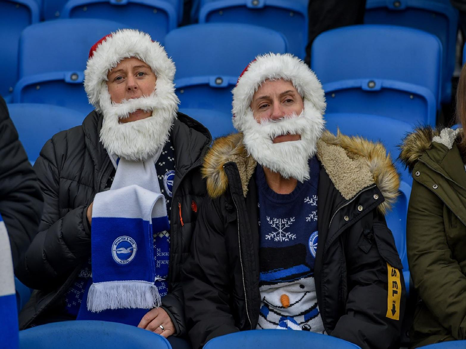 Albion fans dress as Santa at the Amex