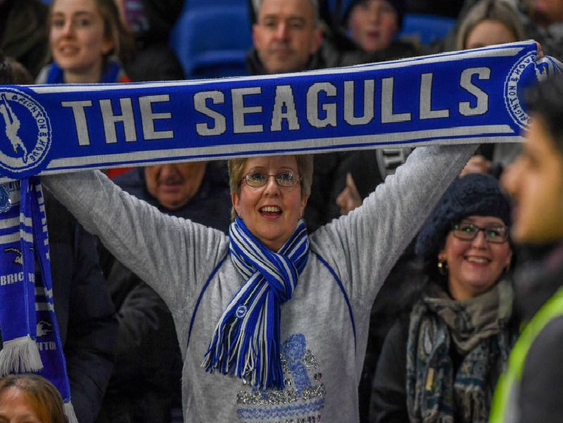 A Brighton fan pictured before kick-off. Picture by PW Sporting Photography