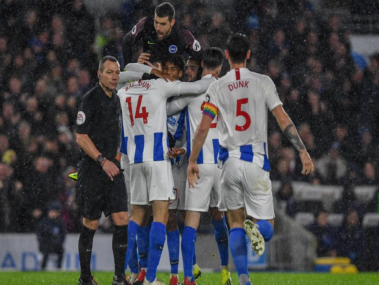 Albion celebrate a goal against Crystal Palace