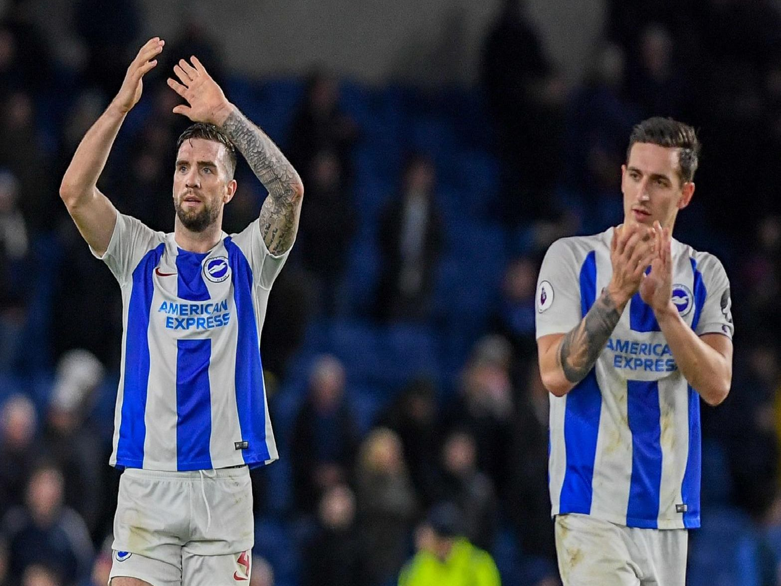 Shane Duffy and Lewis Dunk applaud the Brighton fans after the 1-0 victory over Everton. Picture by PW Sporting Photography