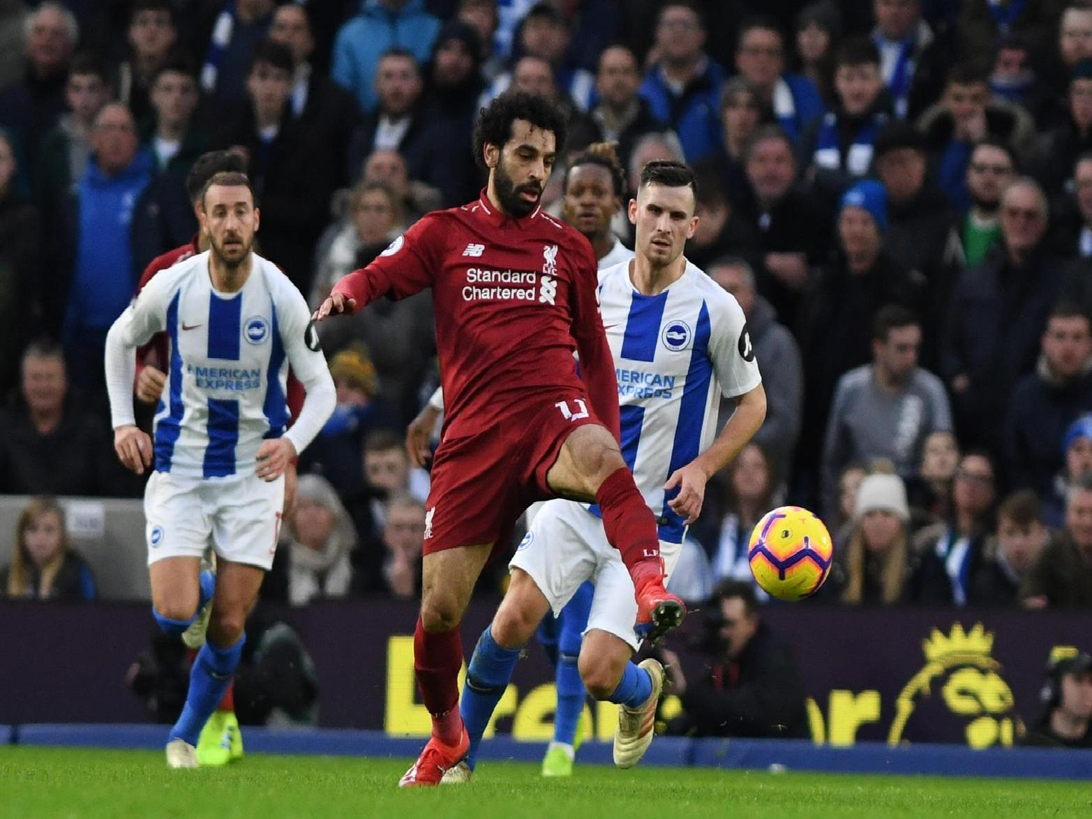 Mohamed Salah in action during Liverpool's 1-0 win at Brighton. Picture by PW Sporting Photography