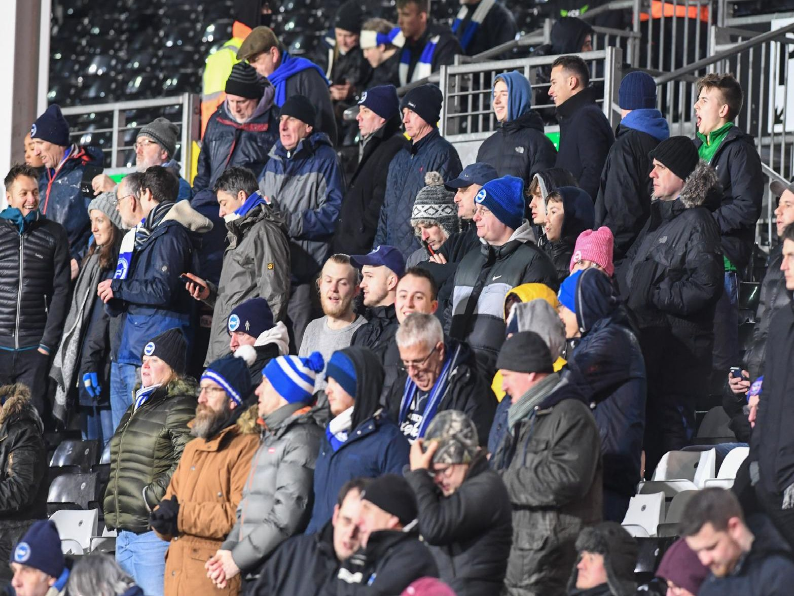 Brighton fans at Craven Cottage. Picture by PW Sporting Photography