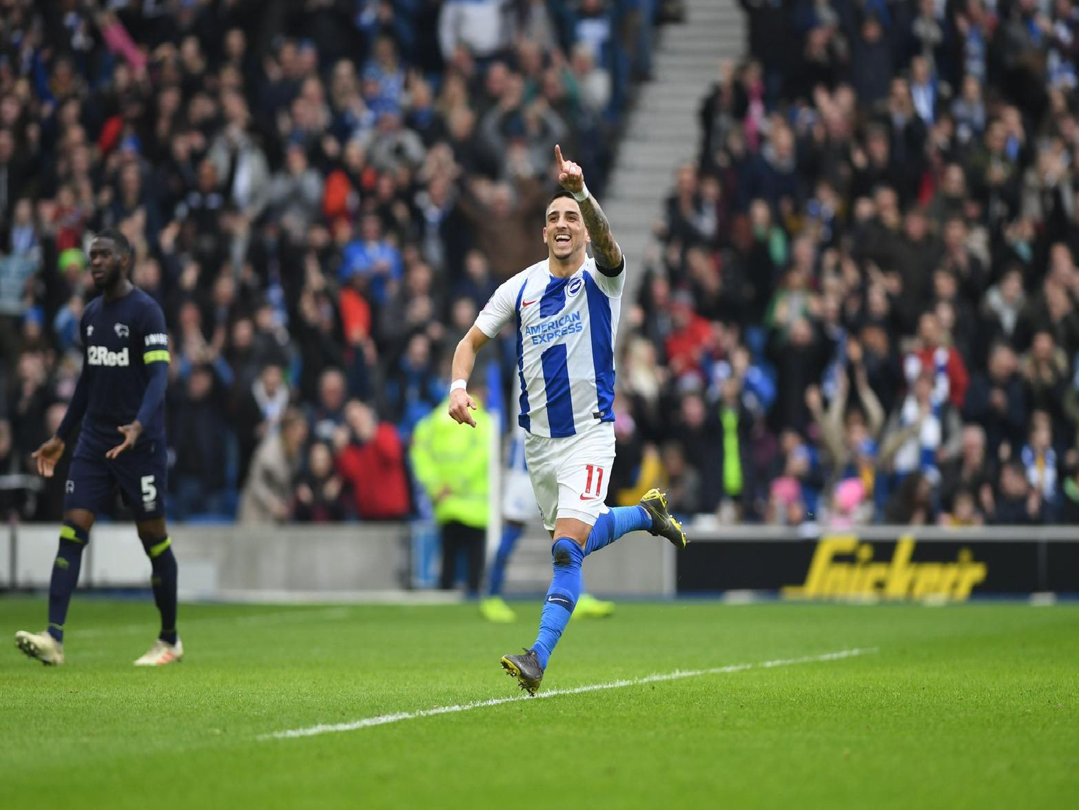 Anthony Knockaert celebrates giving Brigjton the lead against Derby. Picture by PW Sporting Photography