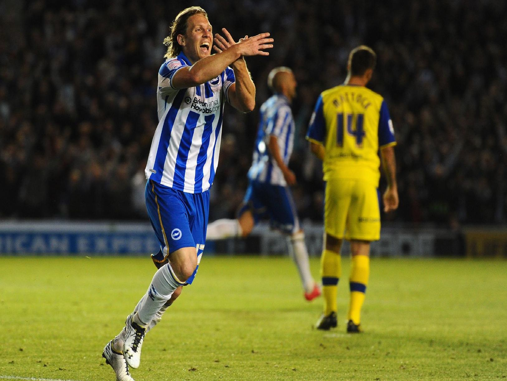 Craig Mackail-Smith celebrates scoring for Brighton.