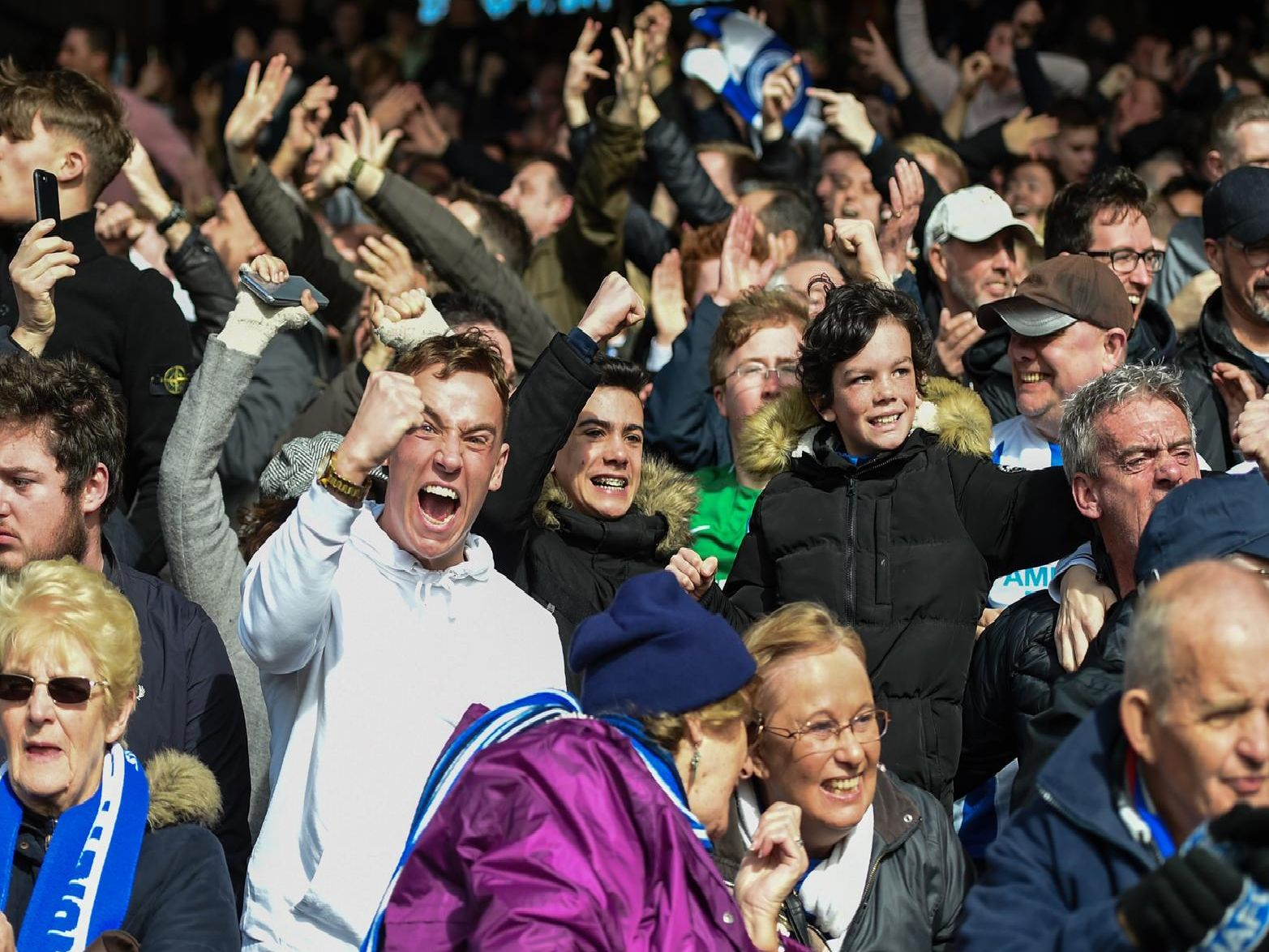 Brighton fans celebrate the 2-1 victory at Crystal Palace. Picture by PW Sporting Photography