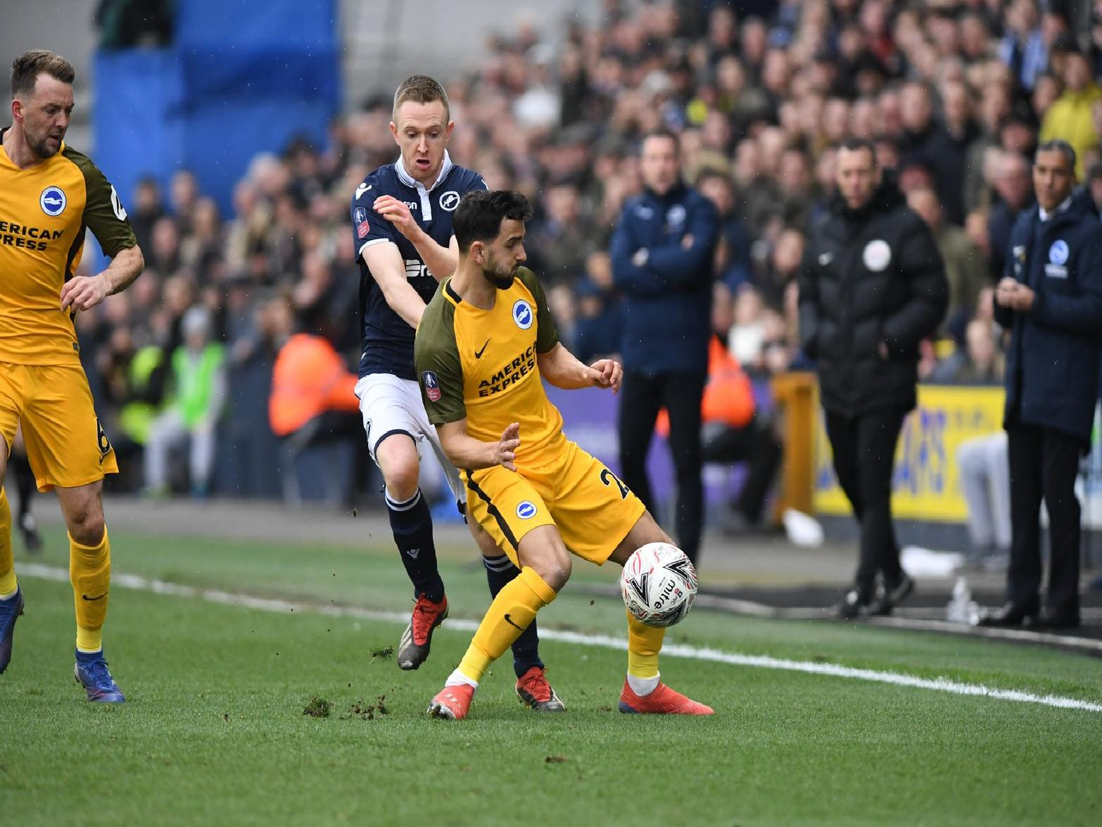 Action from Brighton's FA Cup quarter-final at Millwall. Picture by PW Sporting Photography