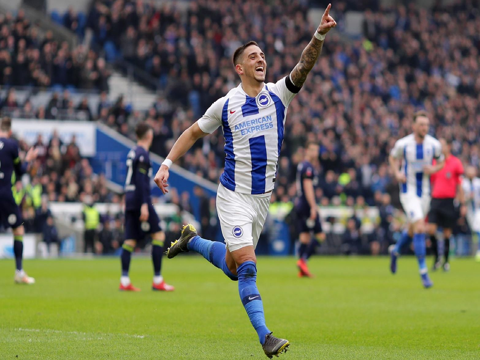 Anthony Knockaert celebrates a goal at the Amex. Picture by Getty Images