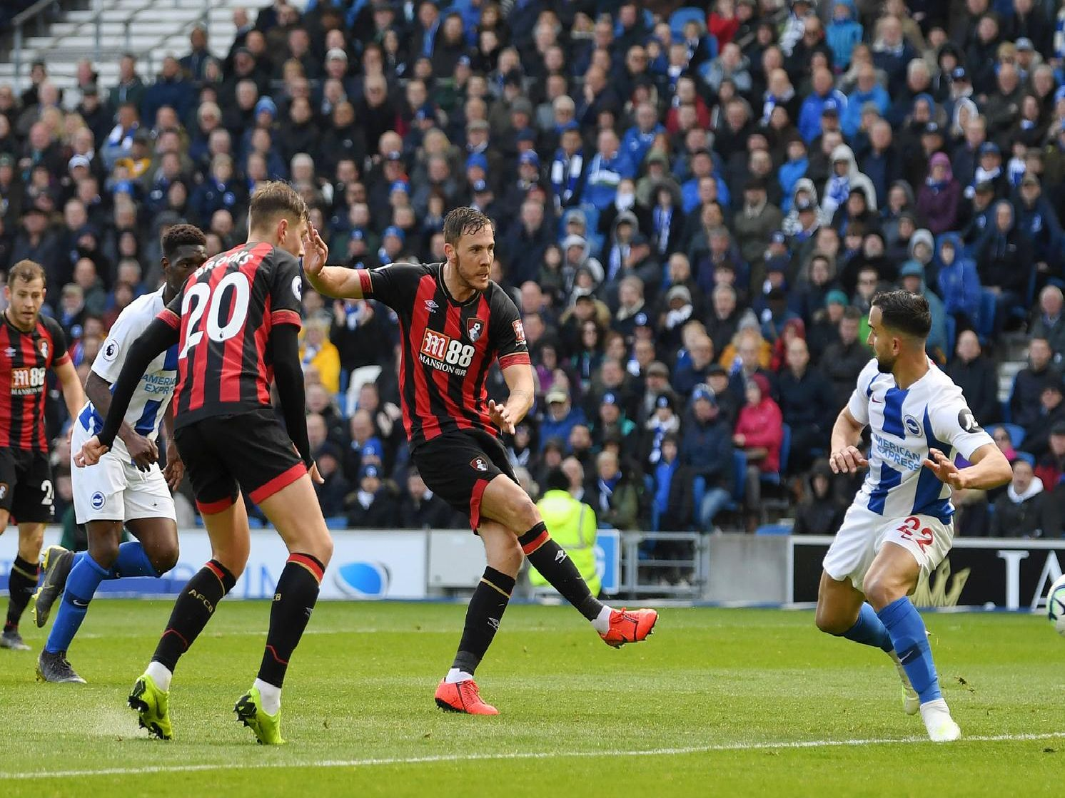 Dan Gosling gives Bournemouth the lead. Picture by Getty Images