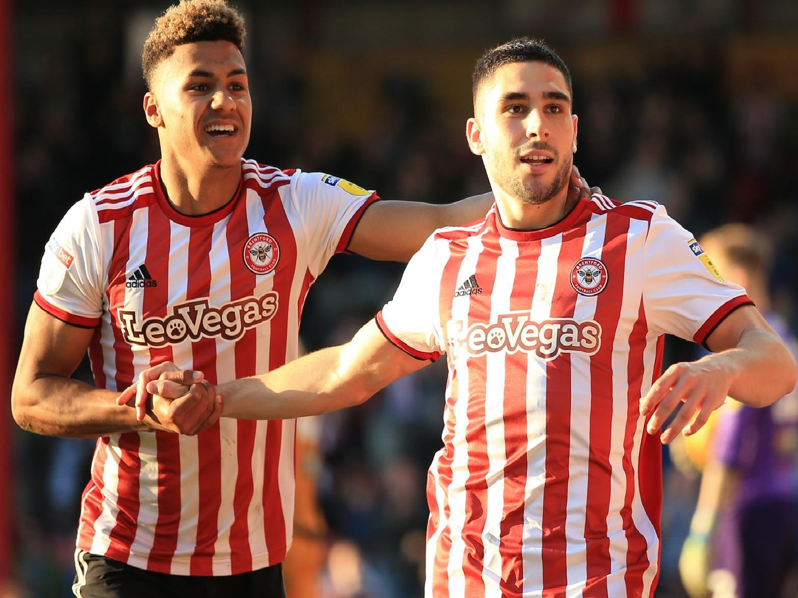 Brentford's Ollie Watkins and Neal Maupay celebrate a goal last season. Picture by Getty Images