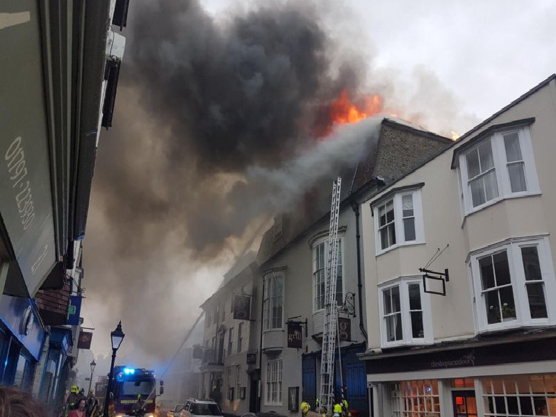 The George in Rye hotel on fire yesterday (July 20). Picture: Elaine Thomas