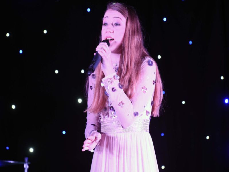 Phoebe Maddison, who has performed on The Voice Kids, in action at the Buckingham Christmas cracker variety show