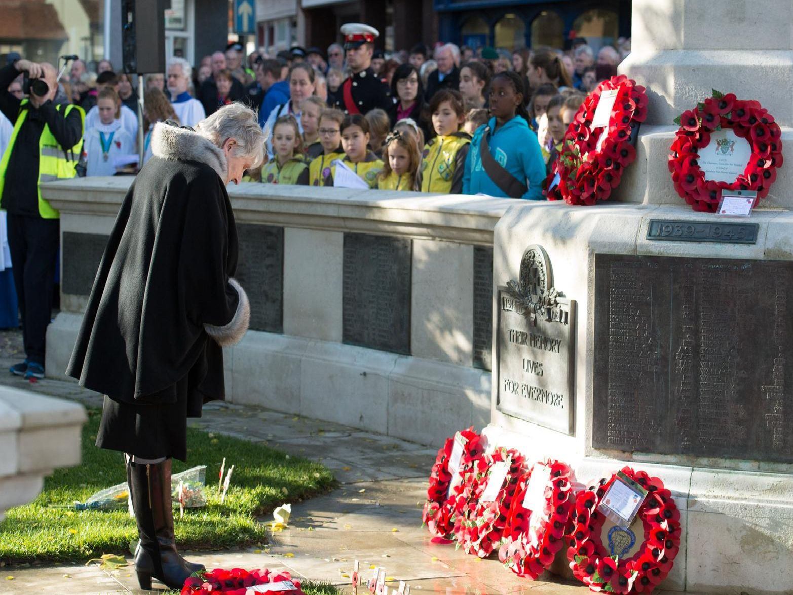 Wreaths laid at the war memorial in Market Square, Aylesbury