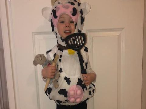 Roseanna Holmes, two and a half, who attends Little Ridges Nursery, Aylesbury, dressed as Cow from Cows in the Kitchen by June Crebbin