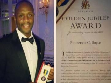 Emmerson Boyce (left) and confirmation of his golden jubilee award (right)