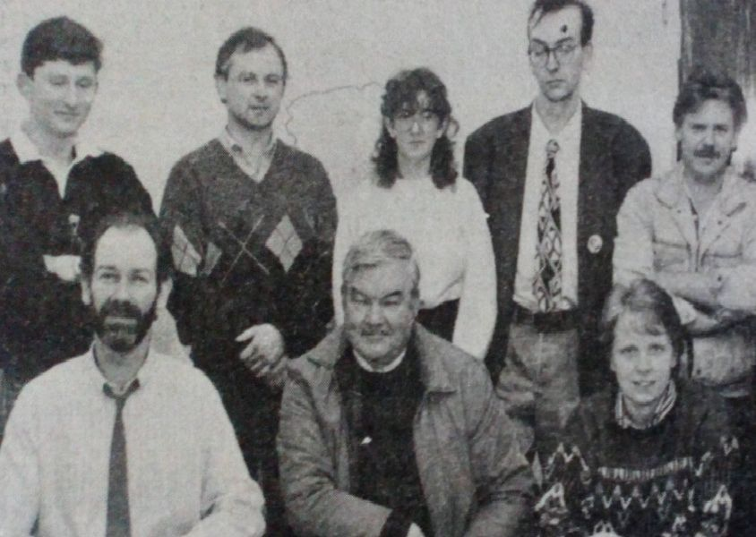 Andy McAvoy (seated left) manager of Carrick Business Complex, with local people who attended a training course at Kilroot Park. 1989