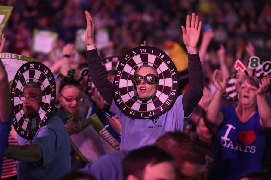 4/4/19: Fans at the match between James Wade and Mensur Suljovic during the Unibet Premier League Darts at the SSE Arena, Belfast. Picture: Michael Cooper