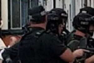 PSNI officers at Victoria Street in Carrick.