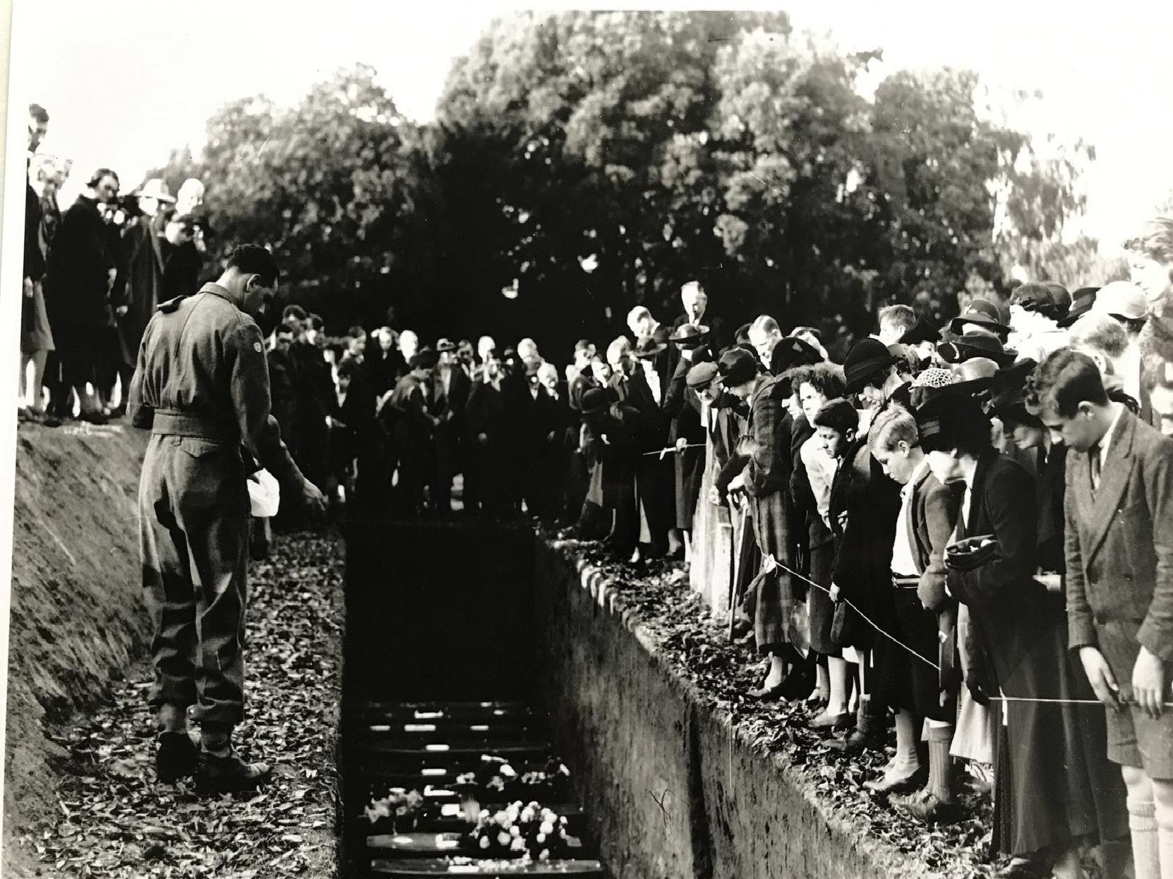 Petworth comes together to attend the funeral of those who lost their lives. Picture via West Sussex Records Office