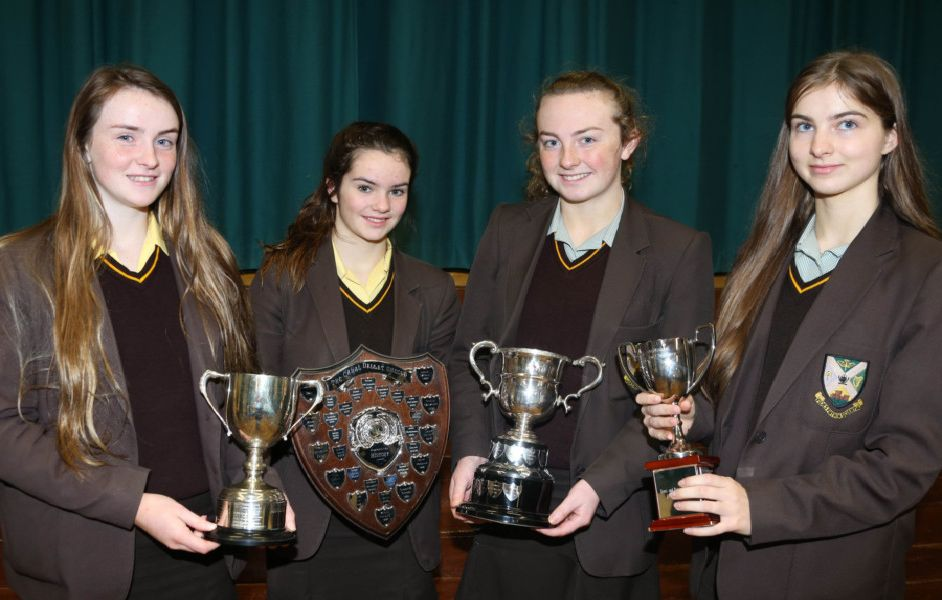Annie Lynn (Vice-Principal's Cup for Proficiency in Girls' Sport), Fionnuala Kelly (John Darragh Memorial Shield for Best Sports Day Performance), Roisin McCormick (Colum McKiernan Memorial Cup for Outstanding Sporting Achievement), Jane McGarry (School Cup for Netball)
