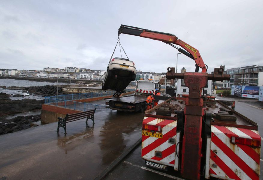05/03/19 MCAULEY MULTIMEDIA..The Scene in Portstewart after a car plunged over the seawall onto rocks below, after 10am on Tuesday morning emergency services responded to reports of a car fallen. Pic Steven McAuley/McAuley Multimedia