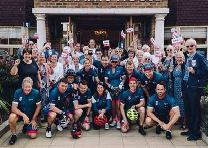 Dr Dawn Harper, front row centre, joined the cycling challenge