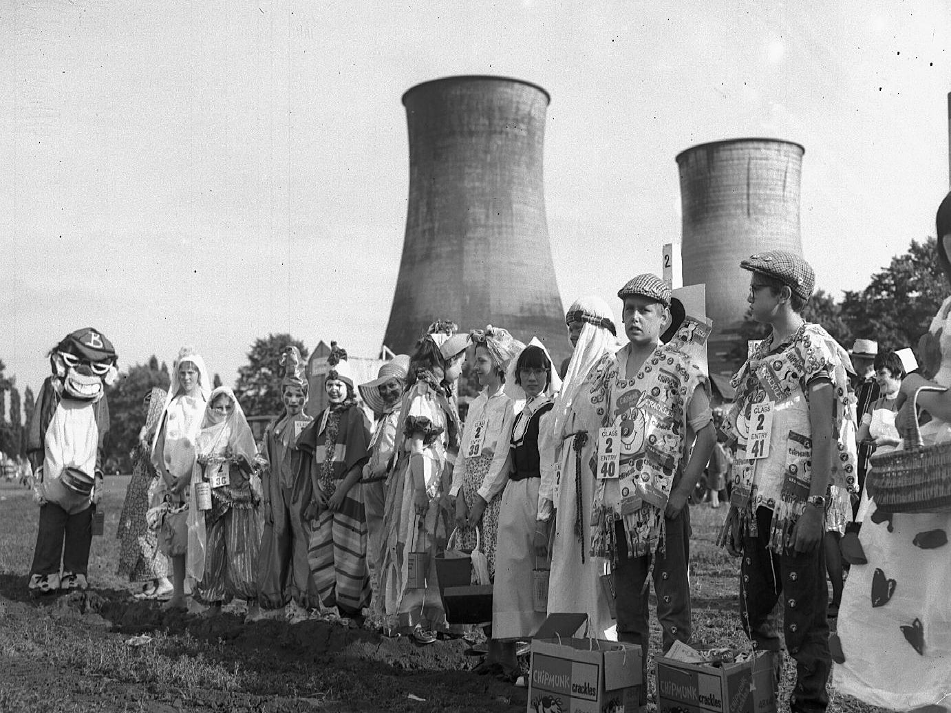 The fancy dress entries for the Northampton Carnival parade gather on Midsummer Meadow on June 21, 1962.