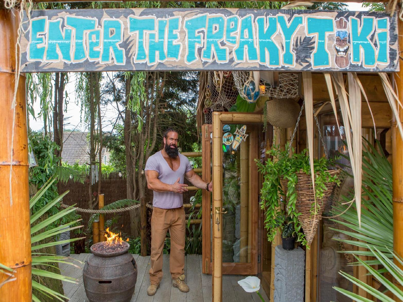 Chris Smith's tiki-inspired paradise in his back garden in Wollaston. Photo: Cuprinol