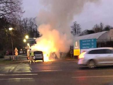 A blazing car made a spectacular sight for drivers on Northampton's Bedford Road on Tuesday morning.