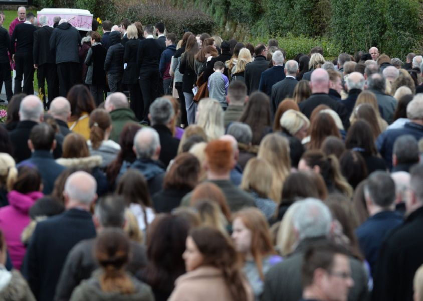 PACEMAKER BELFAST  22/03/2019'Friends and family of teenager Lauren Bullock attend her funeral in Donaghmore this morning. Lauren and two others were killed in a tragic accident at the Greenvale Hotel on St Patricks night.'Photo Colm Lenaghan/Pacemaker Press