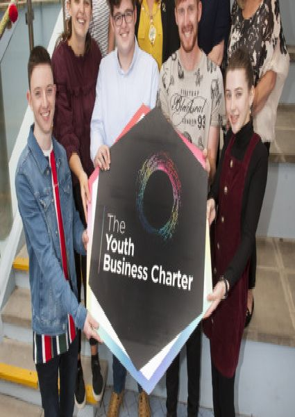 """YOUTH BUSINESS CHARTER. . . .The Mayor of Derry City and Strabane District Council, Michaela Boyle pictured with some of the young people who have signed up to the Youth Business Charter, during an event at Holywell Trust, Bishop Street on Wednesday afternoon. Included, front from left are Aiden O�""""Donnell, Lauren Harkin, Matthew Stewart, Kaine Henderson and Mary Jo O�""""Kane. At back are Caitriona Doherty, Nicky Gillese and Jackie Parkington, DCSDC."""