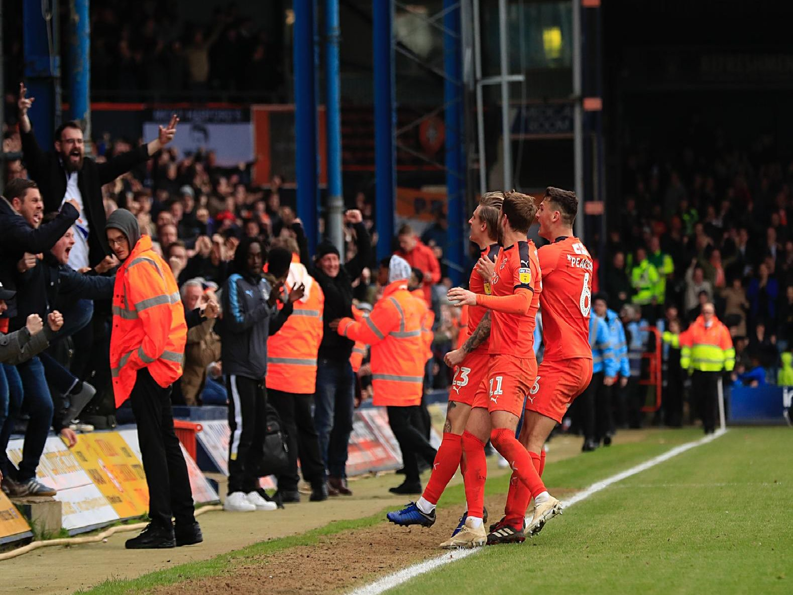 Town celebrate Jason Cummings' late leveller against Blackpool