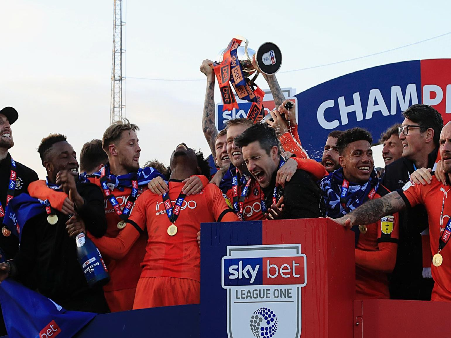 Luton celebrate winning the League One title