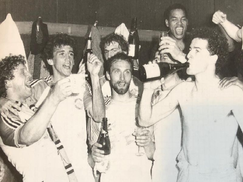 The Hatters players celebrate winning promotion at the end of the 1981-82 season