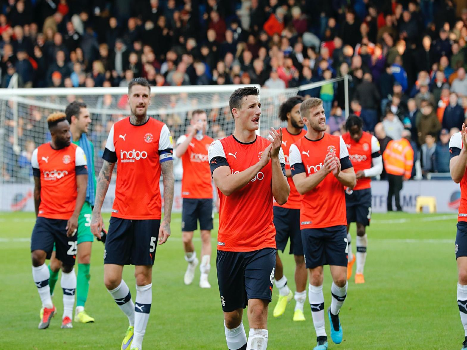 Town's players applaud the home fans after beating Bristol City 3-0 on Saturday