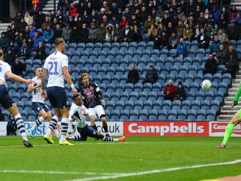 Luke Berry saw this effort fly wide at Preston on Saturday